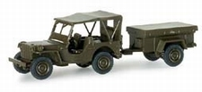 HERPA 741989  Willy's jeep + aanhanger  1:87