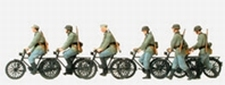 PREISER 16596  6 Duitse soldaten met fiets  1:87