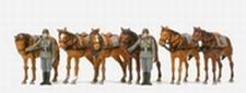 PREISER 16597  6 staande paarden + 2 fig.  1:87